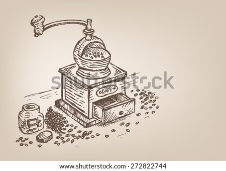 Coffee grinder with beans and glass jar Vector illustration Sketch concept. Editable EPS10. - stock vector