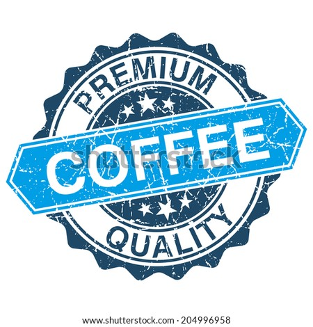 Coffee grungy stamp isolated on white background - stock vector
