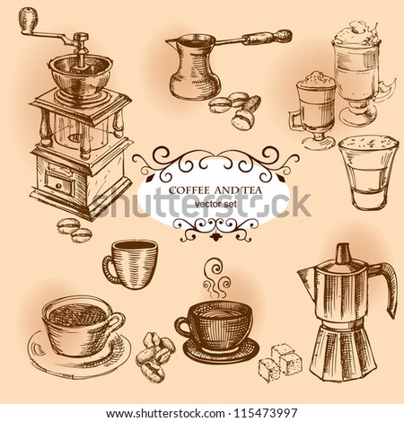 Coffee hand drawn elements. Set of drawings for design