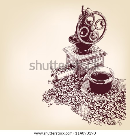 coffee hand drawn vector llustration - stock vector