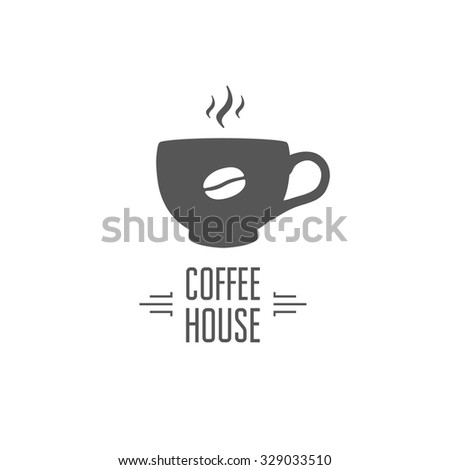 Coffee house design. Stylish emblem for cafe, restaurant. - stock vector