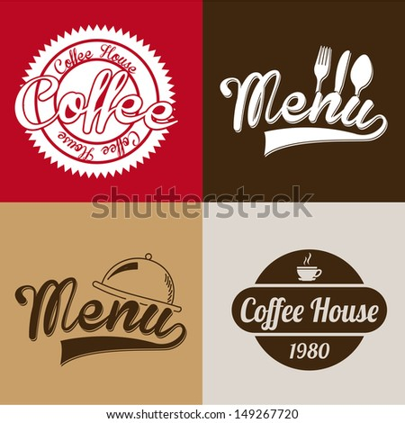 coffee house labels over colorful background vector illustration