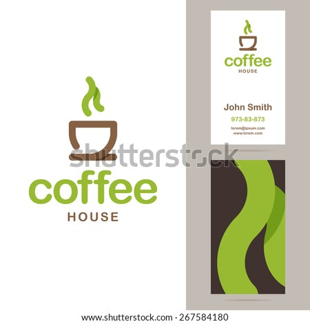 Coffee house logo and business card templates. Vector illustration. - stock vector