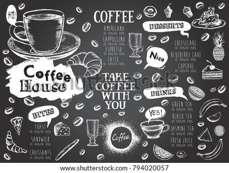 coffee house menu restaurant cafe menu stock vector royalty free
