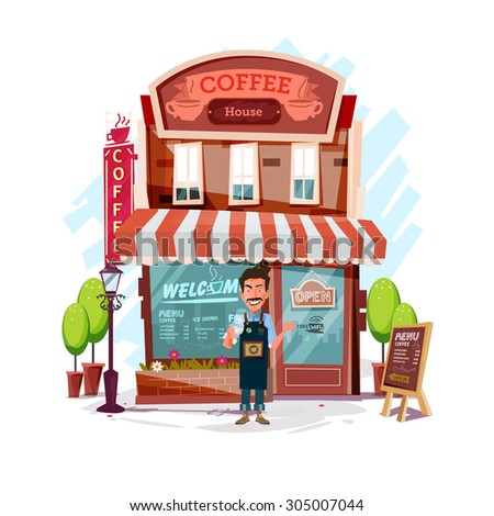 coffee house with barista man. Facade of a coffee shop store or cafe - vector illustration - stock vector