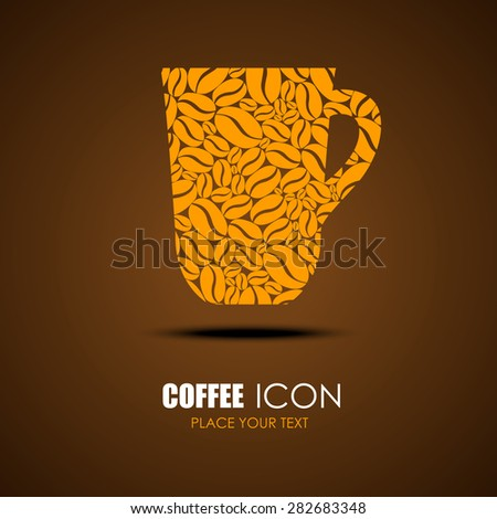 coffee icon. design idea for -a cafe. cup vector. brown background - stock vector
