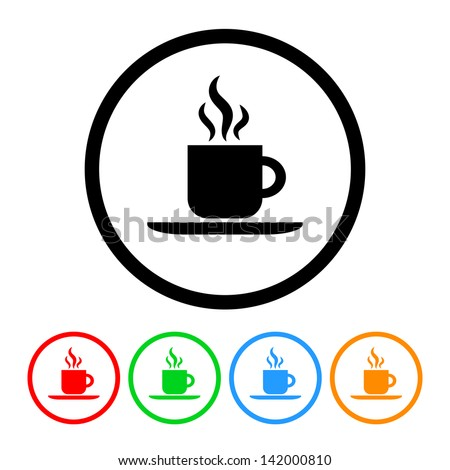 Coffee Icon in Vector Format with Four Color Variations - stock vector
