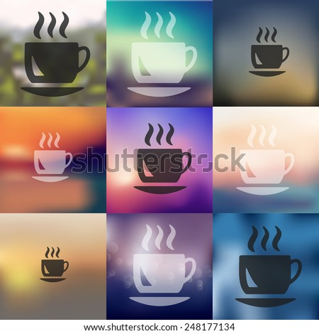 coffee icon on blurred background - stock vector