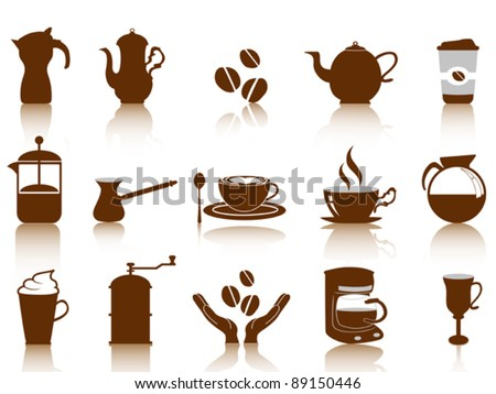 coffee icon set - stock vector