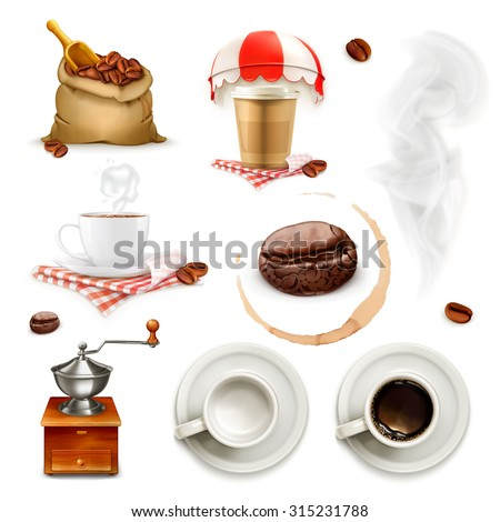 Coffee, icon set and elements - stock vector