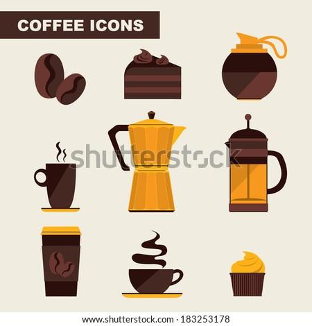 Coffee icon set menu. Flat design. Vector for menu, coffee shop, restaurant. - stock vector