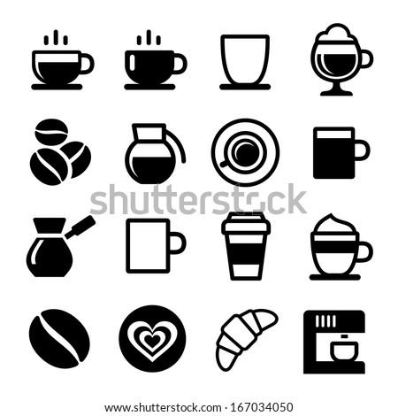 Coffee icon set on white. Vector illustration - stock vector