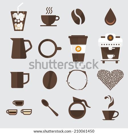 Coffee icon set vector. - stock vector