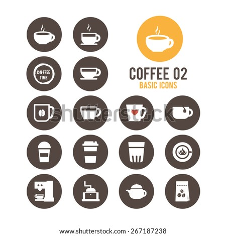 Coffee icon set. Vector illustration. - stock vector