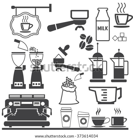 coffee icons. - stock vector