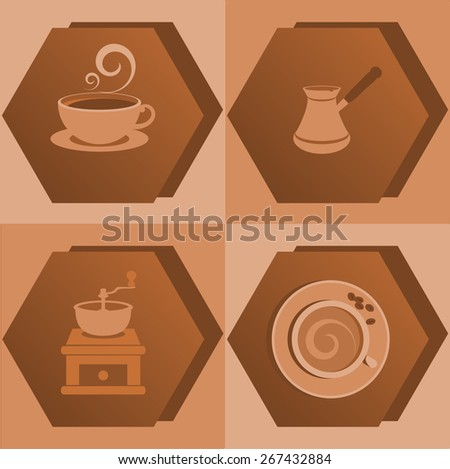 Coffee icons. Beige and brown colors - stock vector