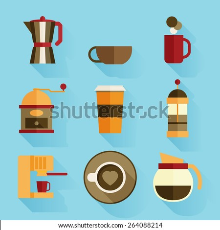 Coffee icons, flat design - stock vector