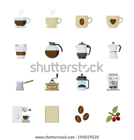 Coffee Icons : Flat Icon Set for Web and Mobile Application - stock vector