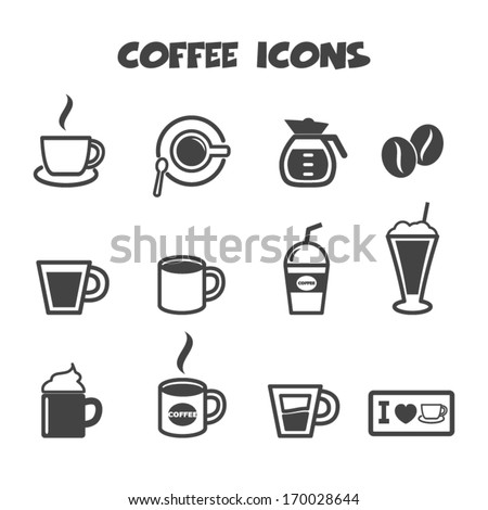 coffee icons, mono vector symbols - stock vector
