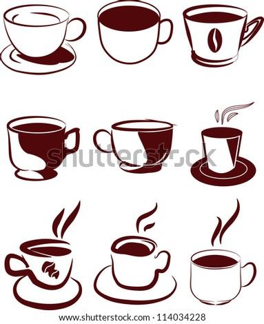coffee icons set - stock vector