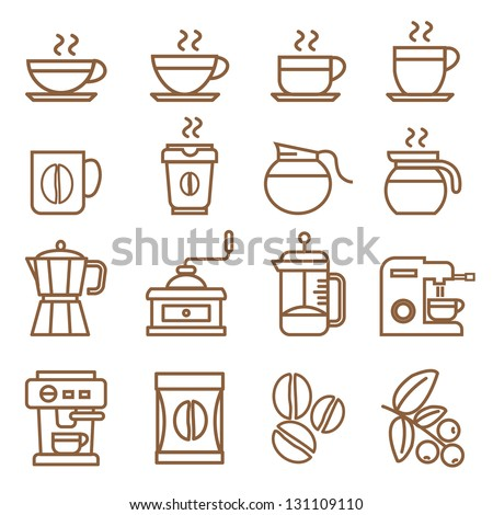 coffee icons set brown color - stock vector