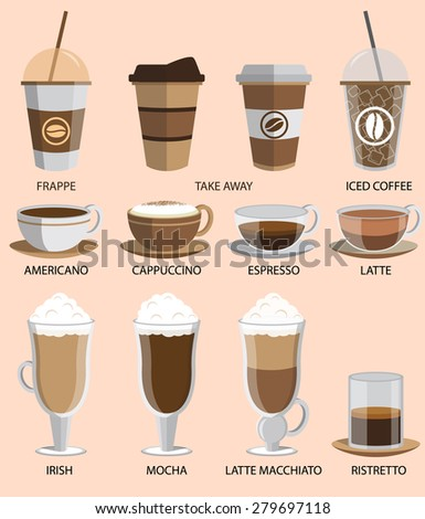 Coffee icons set. Buttons for web and apps. Vector illustration. - stock vector