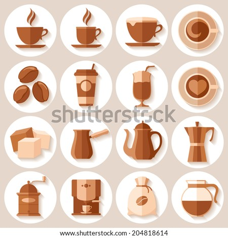 Coffee icons set in minimalistic flat style. Vector illustration. - stock vector