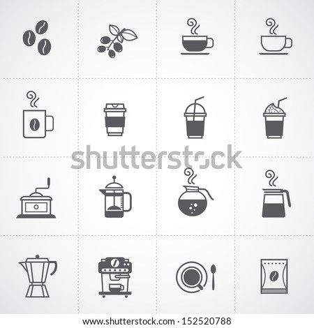 coffee icons set vector  - stock vector