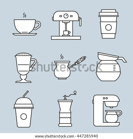 Coffee icons. Steaming cup, coffee machine, turk, pot, mocaccino, cold coffee to go, coffee grinder. Design elements for menu, booklet, website, mobile app. Logo concepts. Flat vector illustration. - stock vector