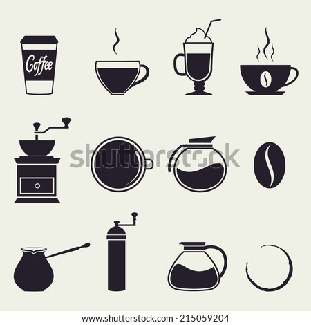 Coffee icons.  Vector set, - stock vector