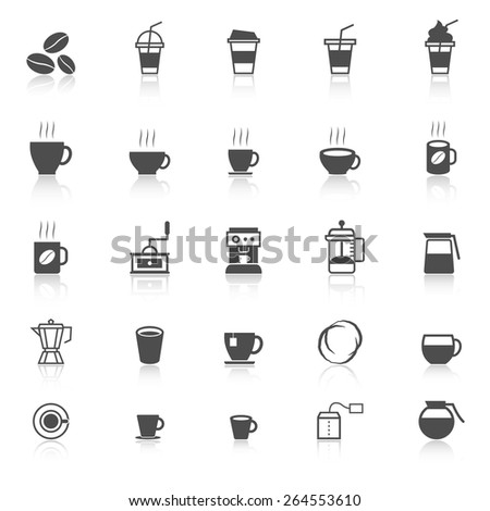 Coffee icons with reflect on white background, stock vector - stock vector