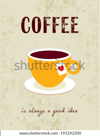 coffee illustration poster - stock vector