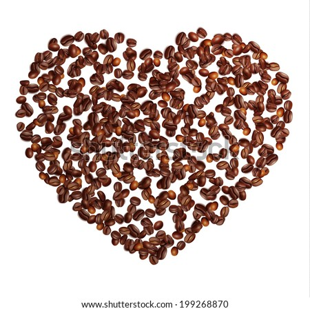 Coffee in grains. Coffee heart.  Vector and raster image. - stock vector