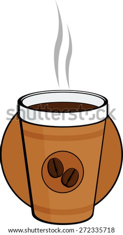 coffee in polystyrene cup - stock vector