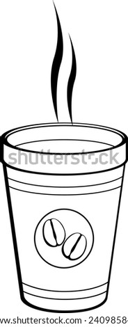 coffee in polystyrene cup to go - stock vector