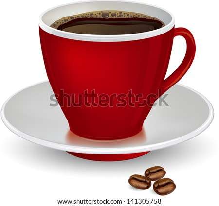 Coffee in red cup and beans on a white background.vector ilustration - stock vector