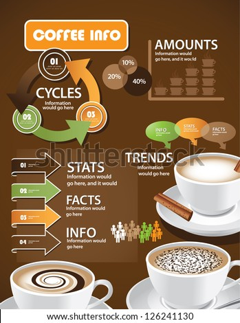 Coffee Infographics EPS 8 vector, grouped for easy editing. No open shapes or paths. - stock vector