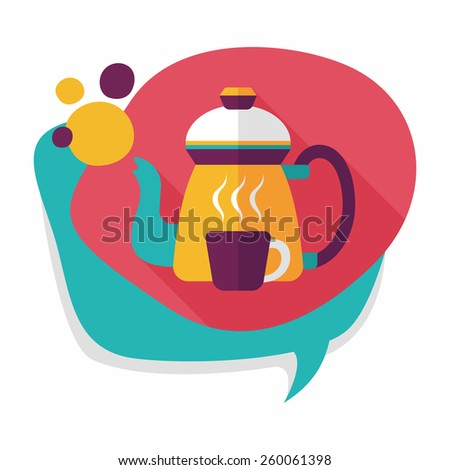coffee kettle and cup flat icon with long shadow,eps10 - stock vector