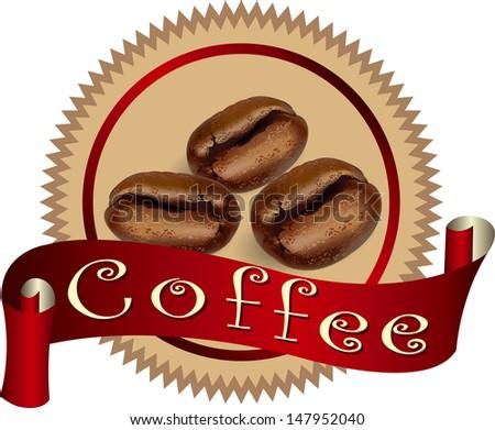 coffee label (coffee bean, coffee design, coffee symbol) - stock vector