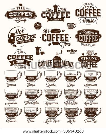 Coffee Label, logo and menu - stock vector
