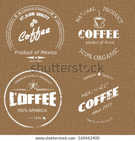 coffee label on sacking - stock vector