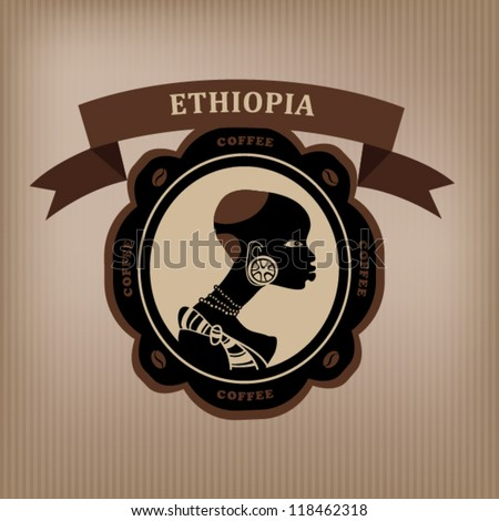 Coffee labels and elements. Ethiopia. vector. - stock vector