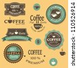Coffee labels for design vintage style. Vector set - stock photo