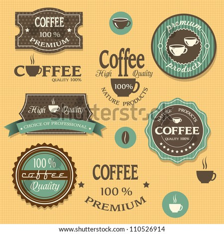 Coffee labels for design vintage style. Vector set - stock vector