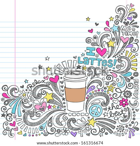 Coffee Latte Hot Drink  Sketchy Back to School Vector Illustration Sketchy Notebook Doodles on Lined Sketchbook Paper - stock vector