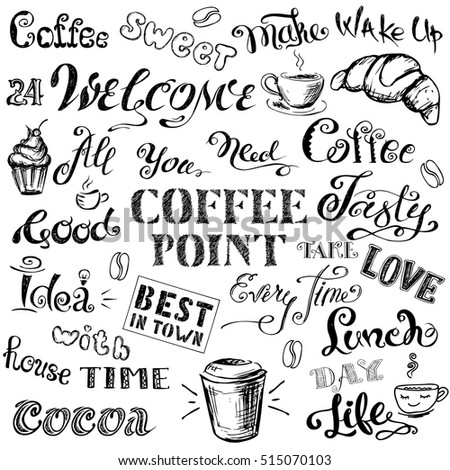 Coffee lettering,hand drawn on white background, stock vector illustration