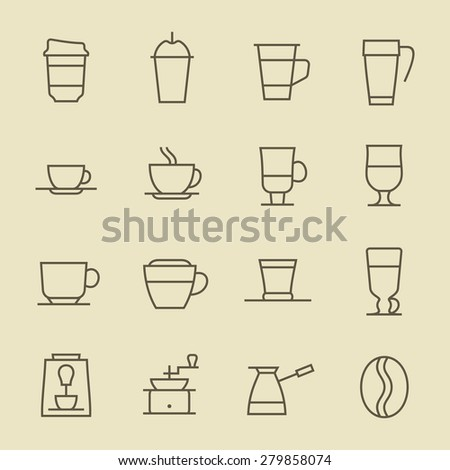 Coffee line icon set