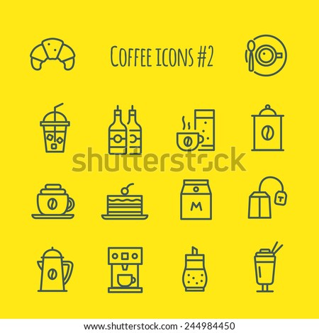 Coffee line Icons Set 2 - stock vector