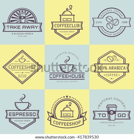 Coffee logo collection. Templates in outline style. Set of retro labels for coffee shop or cafe. Isolated logotypes on yellow and blue stickers. Vector illustration. - stock vector