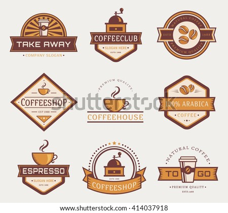 Coffee logo templates. Set of labels for coffee shop or cafe. Logotypes isolated on white background. Vector collection. - stock vector